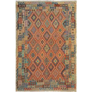 Arshs Fine Rugs Arya Collection Santos Multicolored Wool Hand-woven Rug (6'6 x 9'6)
