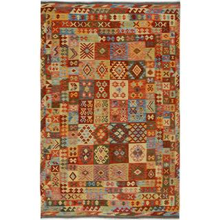 Arshs Fine Rugs Hand-woven Arya Collection Scotty Red/Gold Wool Rug - 6'6 x 10'3