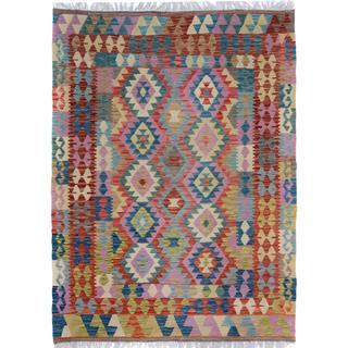 Arshs Fine Rugs Arya Collection Sheldon Blue/Grey Wool Hand-woven Rug (4'10 x 6'5)