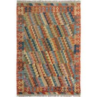 Arshs Fine Rugs Arya Collection Vicente Beige/ Rust Handwoven Wool Rug - 3' x 5'