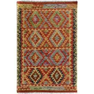 Arshs Fine Rugs Arya Collection Wilfredo Gold/Brown Wool Handwoven Rug (3'3 x 5'2)