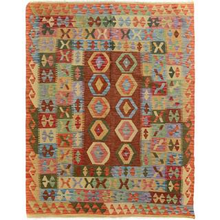 Arshs Fine Rugs Gold/Rust Wool Double-sided Area Rug - 5'0 x 6'5