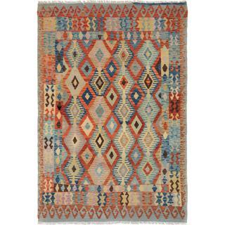 Arshs Fine Rugs Arya Collection Winston Tan/Blue Wool Rug (5'9 x 8'0)