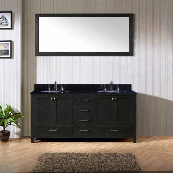Caroline Premium 72 Inch Black Granite Double Bathroom Vanity Set
