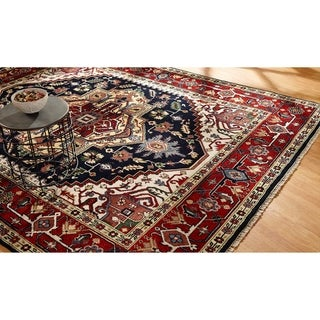 Black/ Red Wool Hand-knotted Umbria Rug (8' x 10') - 8' x 10'