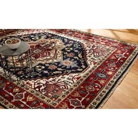 Black/ Red Wool Hand-knotted Umbria Rug (8' x 10')