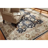 Hand-knotted Umbria Black/ Ivory Wool Rug (9' x 12')