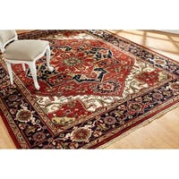 Umbria Rust/ Navy Wool Hand-knotted Rug (9' x 12') - 9' x 12'