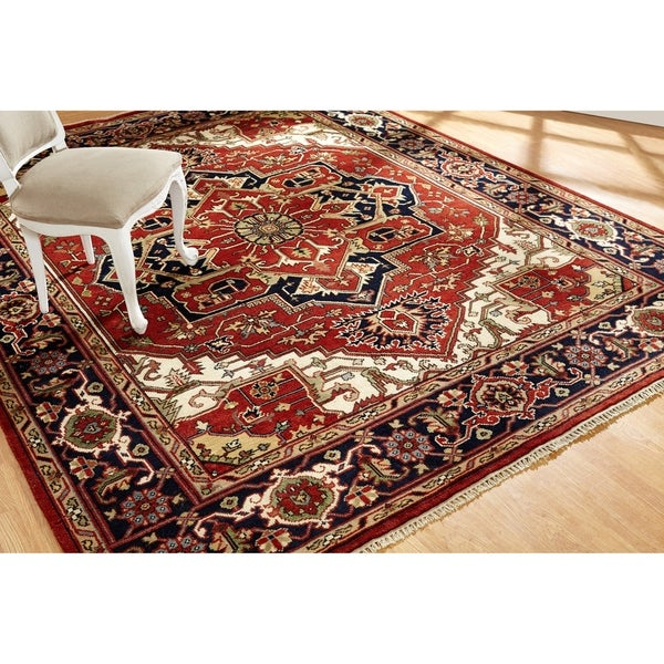 Umbria Rust/Navy Wool Hand-knotted Rug (10' x 14') - 10' x 14'