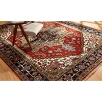 Umbria Red/ Navy Wool Hand-knotted Area Rug (9' x 12') - 9' x 12'