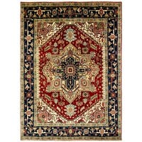 Umbria Red/ Black Wool Hand-knotted Rug (9' x 12')