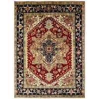 Umbria Red/Black Hand-knotted Wool Rug (10' x 14')
