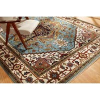 Umbria Light Blue/ Ivory Hand-knotted Wool Rug (9' x 12') - 9' x 12'
