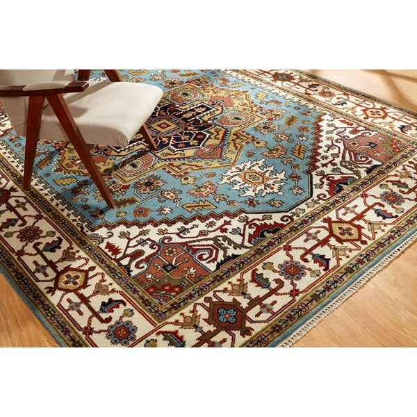 Umbria Blue/Ivory Wool Hand-knotted Rug (10' x 14') - 10' x 14'