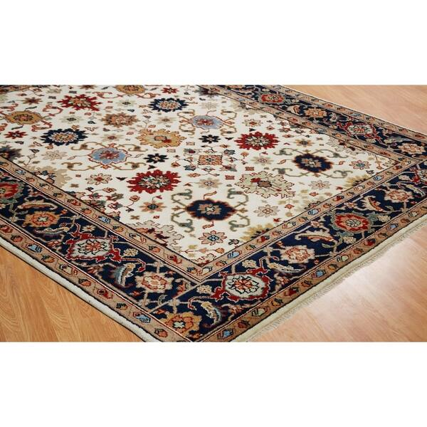 Umbria Ivory Navy Wool Hand Knotted Rug On Sale Overstock 17213151