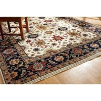 Umbria Ivory/ Navy Wool Hand-knotted Rug (8' x 10')