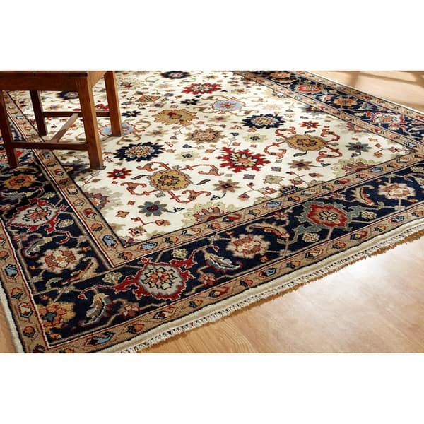 Hand Knotted Umbria Ivory Navy Wool Rug 10 X 14