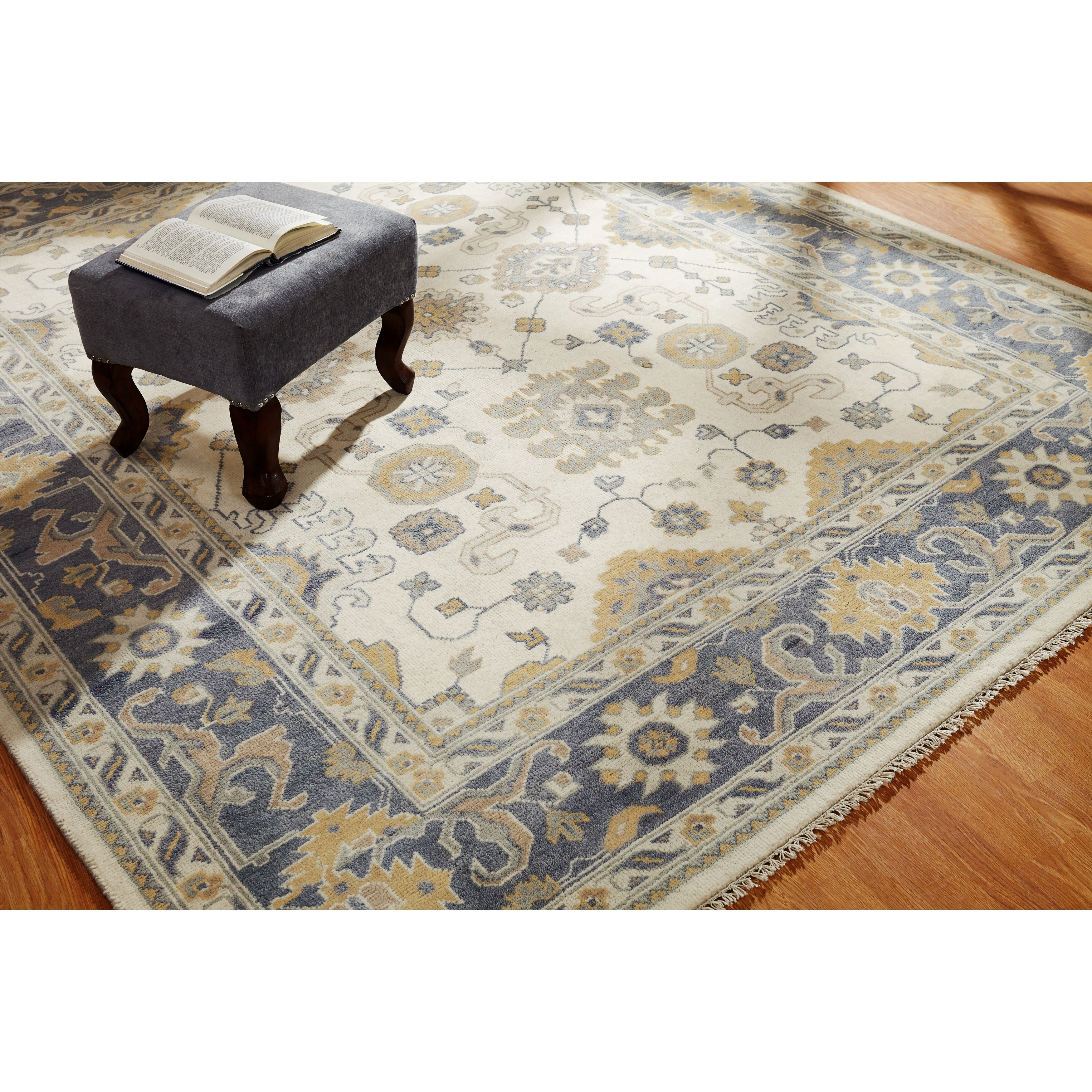 Umbria Ivory/Grey Wool Hand-knotted Rug (9 x 12) - 9 x 12 (Ivory/Grey - 9 x 12)