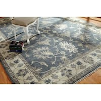Umbria Grey/Ivory Wool Hand-knotted Rug (9' x 12') - 9' x 12'