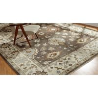 Umbria Camel Brown/Ivory Wool Hand-knotted Rug (9' x 12')