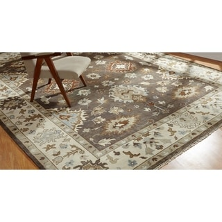 Hand-knotted Umbria Camel Brown/Ivory Wool Rug (8' x 10') - 8' x 10'