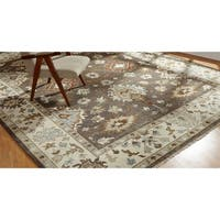 Umbria Camel Brown/Ivory Wool Hand-knotted Rug (10' x 14') - 10' x 14'