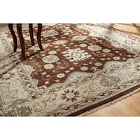 Hand-knotted Umbria Brown Wool Rug (9' x 12') - 9' x 12'