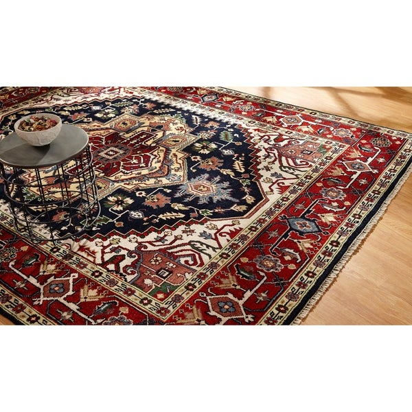 Umbria Black/Red Wool Hand-knotted Rug (9' x 12') - 9' x 12'