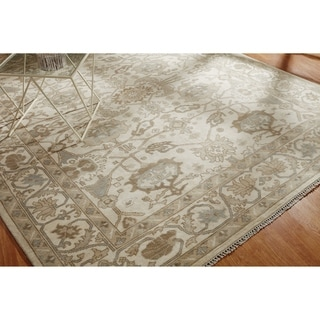 Hand-knotted Umbria Oriental Ivory/ Grey Wool Rug (9' x 12')