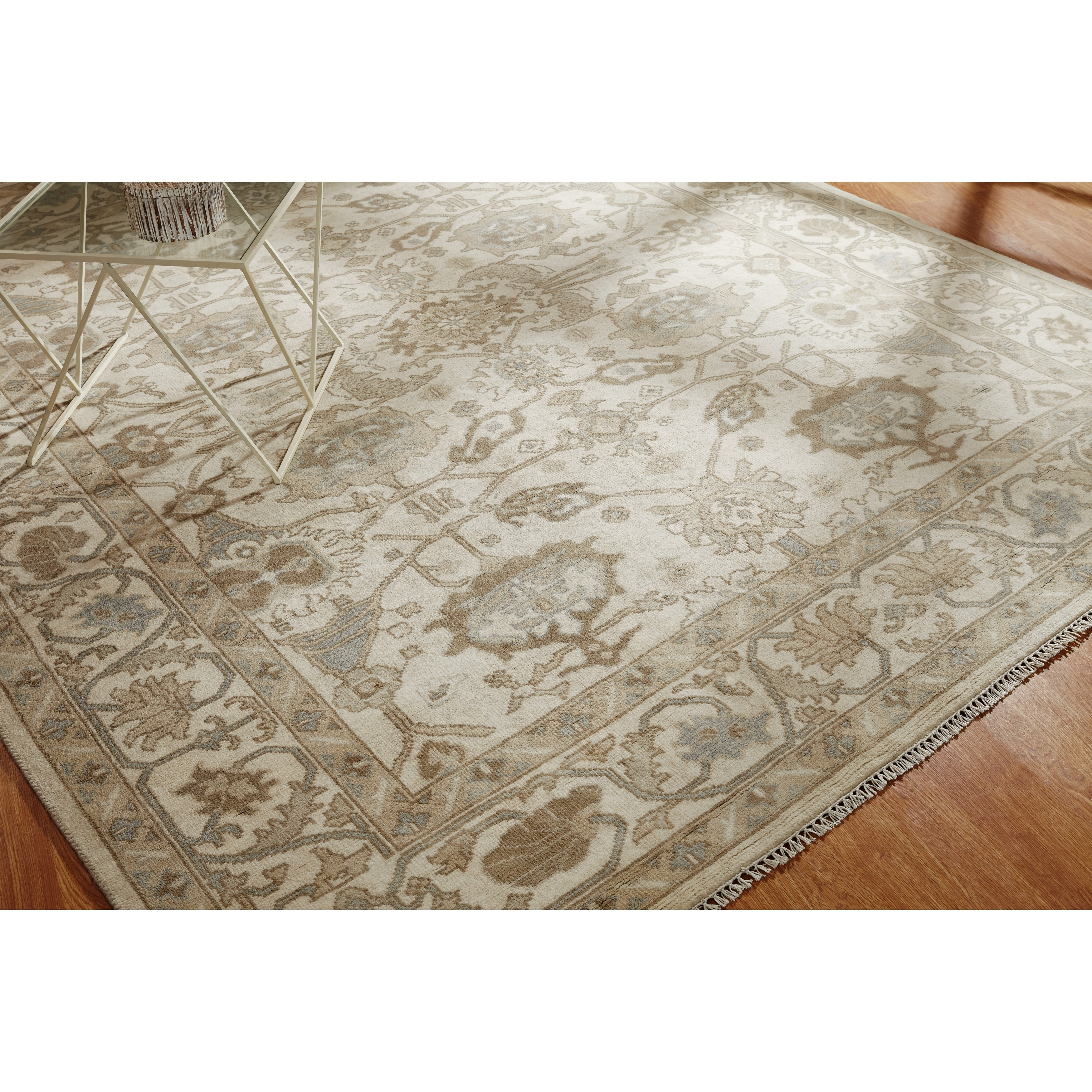 Umbria Beige Wool Hand Knotted Rug Overstock 17213212