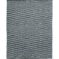 Avalon Grey Wool/Viscose Handmade Geometric Area Rug (9' x 12') - 9' x 12'