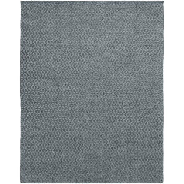Handmade Avalon Grey Wool/Viscose Rug (12' x 15') - 12' x 15'