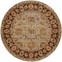 Empire Hand-tufted Light Blue/Brown Area Rug (4' Round)