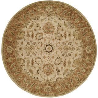 Empire Ivory/Peach Wool Hand-tufted Area Rug (4' Round) - 4' Round