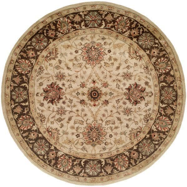 Empire Ivory/Brown Wool Hand-tufted Area Rug (4' Round) - 4' Round