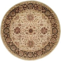 Empire Ivory/Brown Wool Hand-tufted Area Rug (4' Round)
