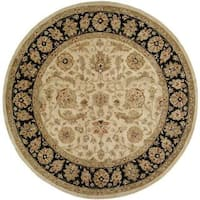 Empire Ivory/Black Wool Hand-tufted Area Rug (4' Round)