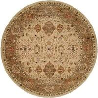 Empire Beige/Brown Hand-tufted Area Rug (4' Round)