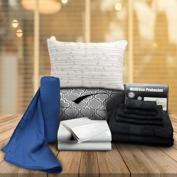 Superior Grey Trellis Twin XL 14-Piece Dorm Bedding and Bath Set