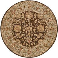 Empire Hand-tufted Brown/Light Blue Area Rug (4' Round)