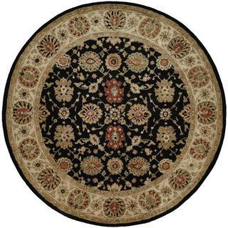 Empire Hand-tufted Black/Ivory Area Rug (4' Round)