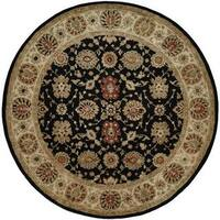 Empire Hand-tufted Black/Ivory Area Rug (4' Round)