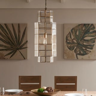 Madison Park Alton Bronze-finished Metal and Glass 150-watt 1-light Chandelier With Metal Shade