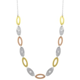 Luxiro Sterling Silver Tri-color Oval Link Necklace