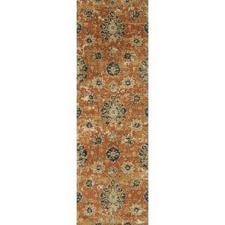 Microfiber Verona Rust Floral Rug (2'7 x 10')|https://ak1.ostkcdn.com/images/products/17213575/P23471164.jpg?impolicy=medium