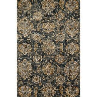 Microfiber Verona Charcoal Floral Rug (2'7 x 4')