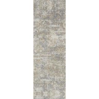 Microfiber Verona Slate Floral Rug (2'7 x 10')