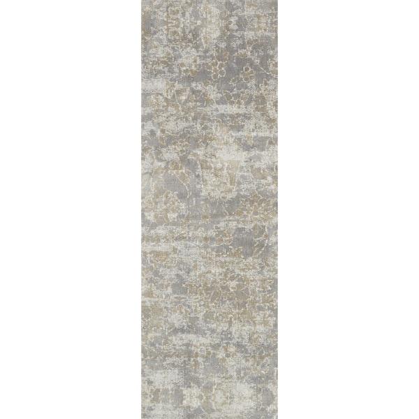 "Microfiber Verona Slate Floral Rug - 2'7"" x 8'"