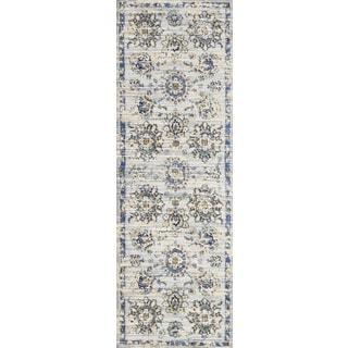 "Alexander Home Verona Grey/Navy Floral Microfiber Runner Rug - 2'7"" x 10' Runner"