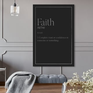 Oliver Gal 'Faith Typography II SILVER' Typography and Quotes Wall Art Canvas Print - Black, Gray